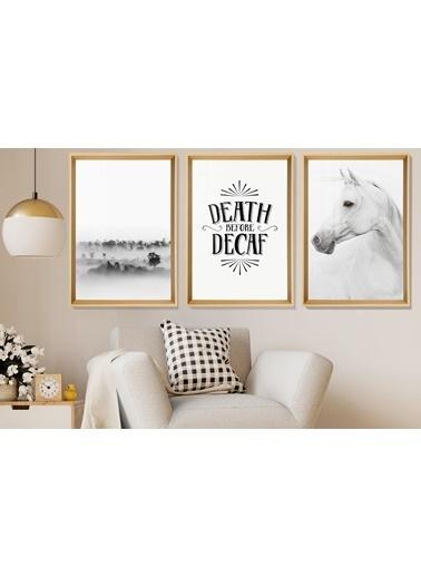 Çerçeve Home  Death  Before Decaf Natural Çerçeve Tablo Seti Renkli